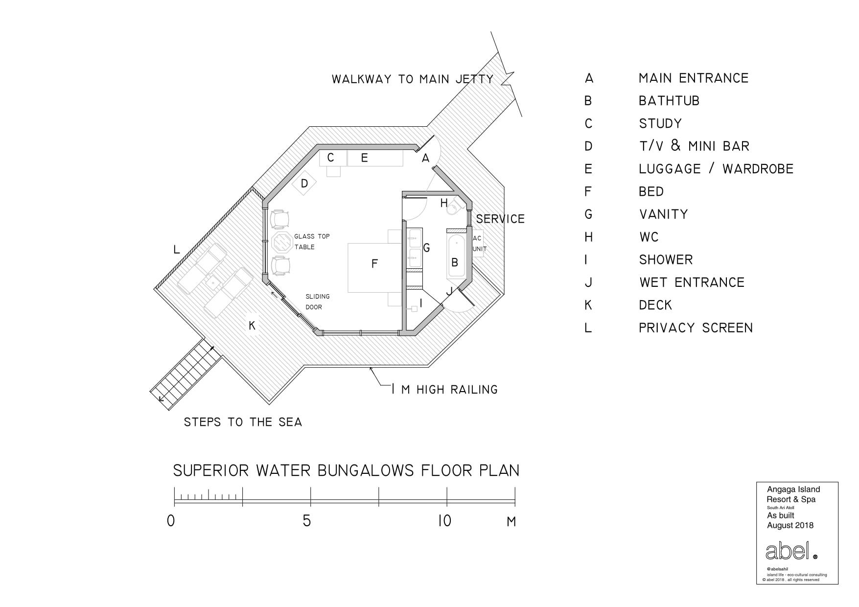 Мальдивы, отель Angaga Island Resort & Spa, план-схема номера Superior Water Bungalow