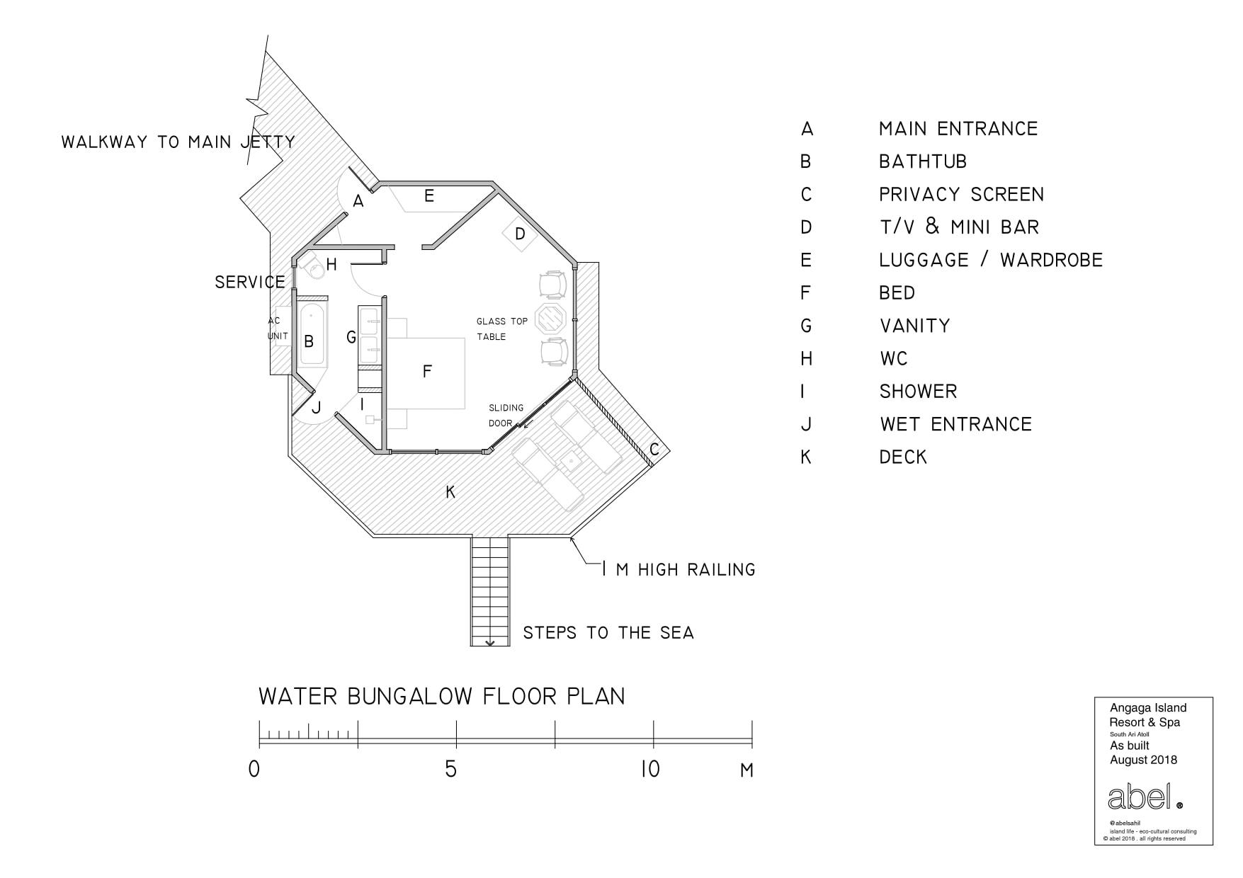 Мальдивы, отель Angaga Island Resort & Spa, план-схема номера Water Bungalow