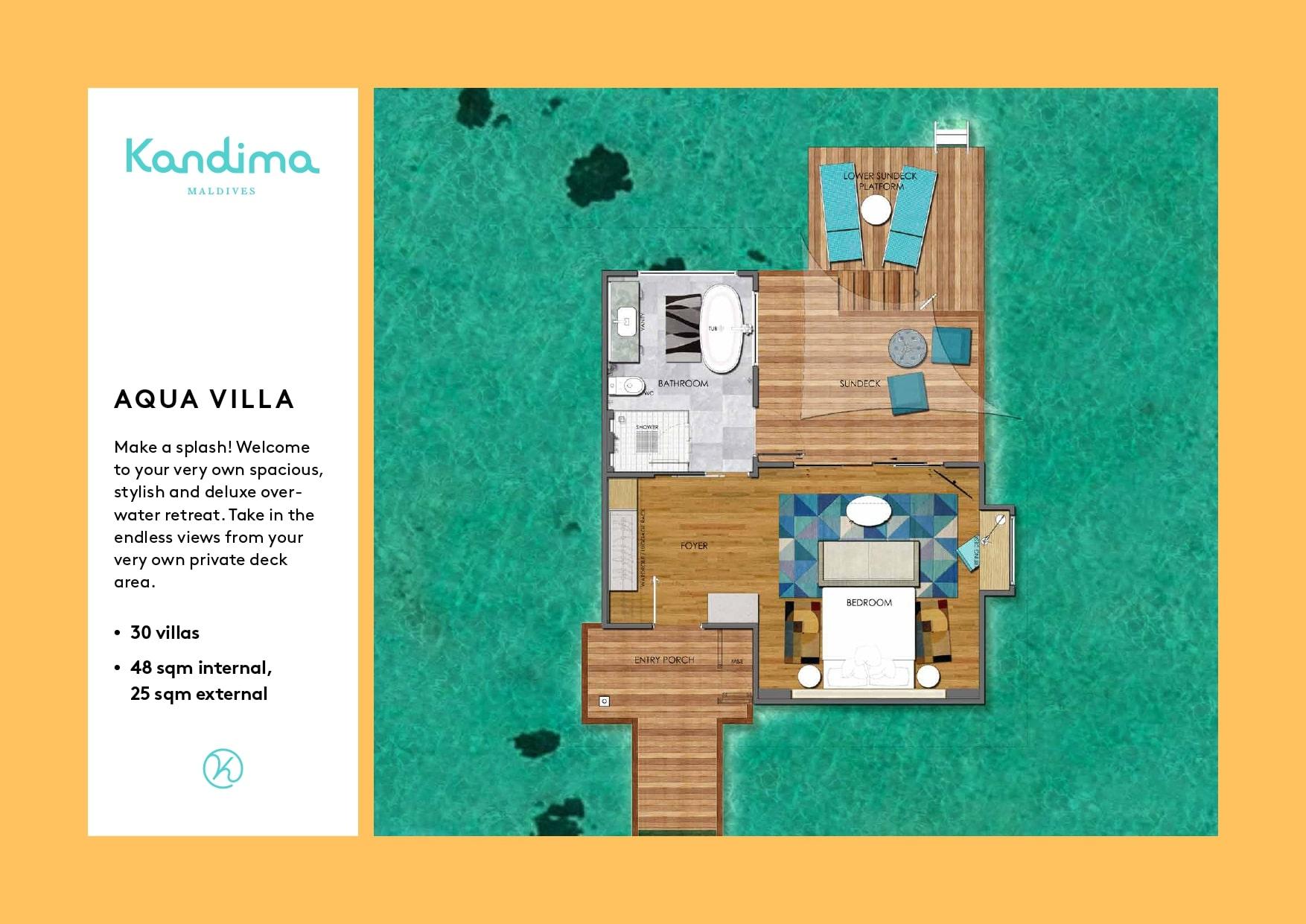 Мальдивы, отель Kandima Maldives, план-схема номера Aqua Villa