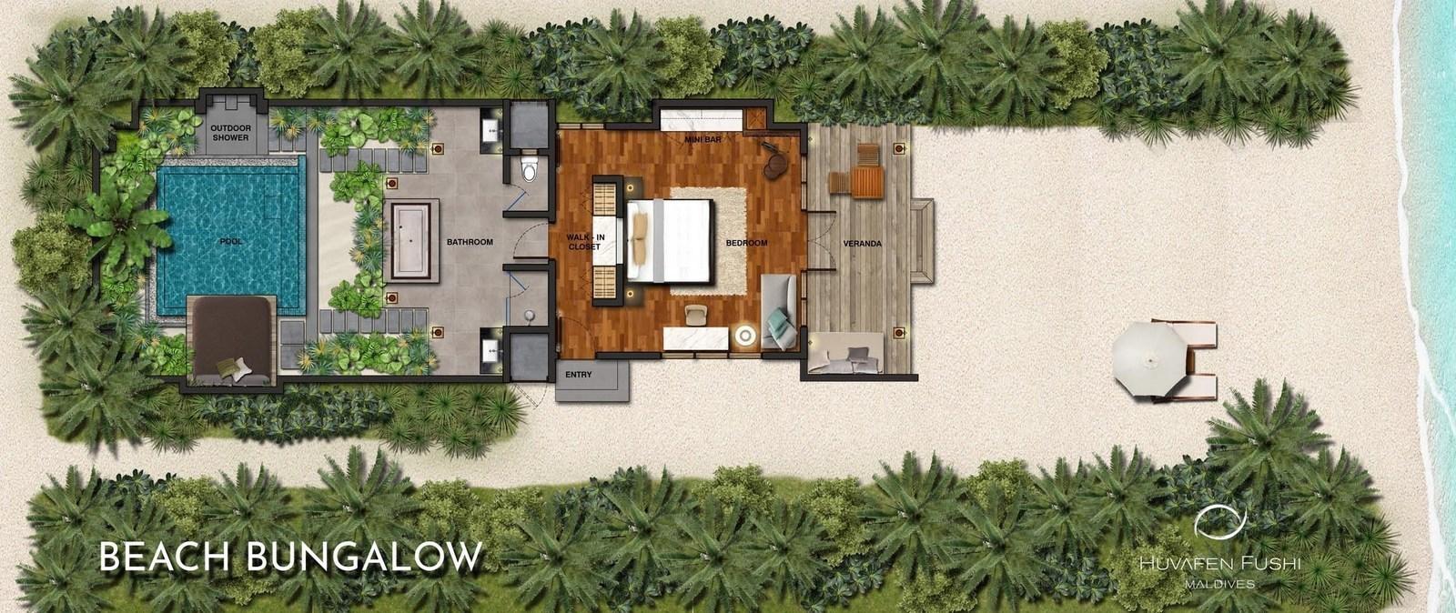 Мальдивы, отель Huvafen Fushi Maldives, план-схема номера Beach Bungalow with Pool