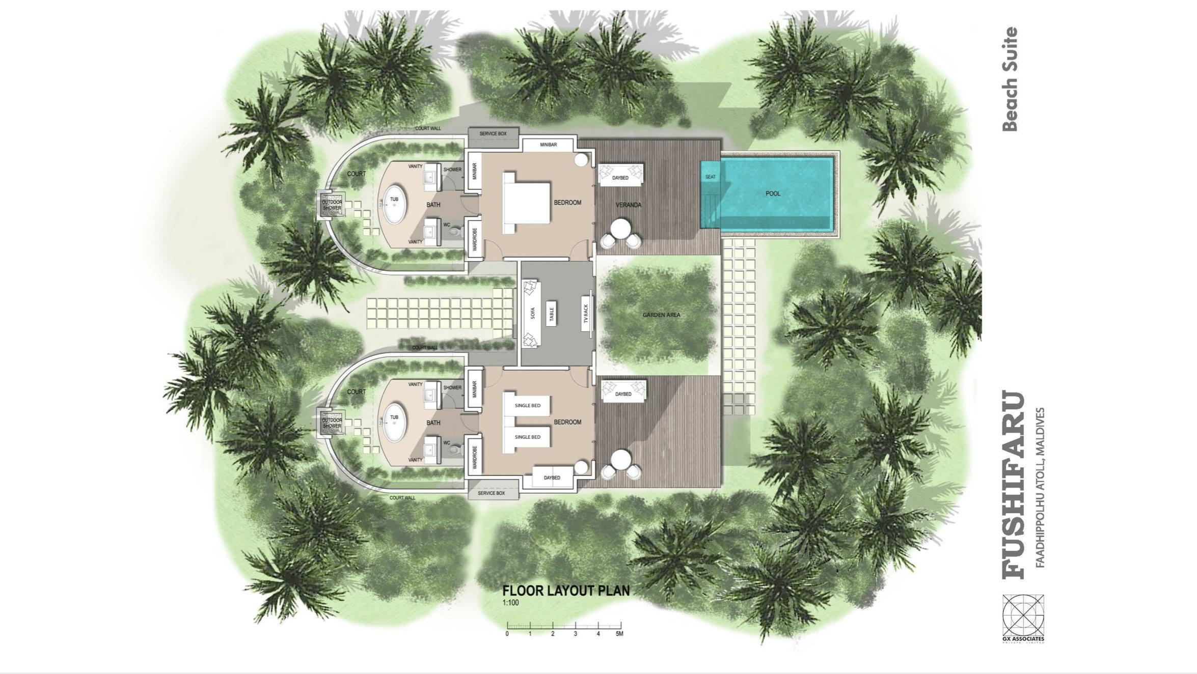 Мальдивы, отель Fushifaru Maldives, план-схема номера Beach Duplex Villa