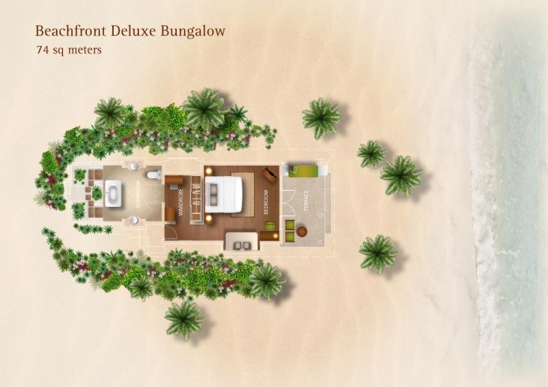 Мальдивы, отель Kurumba Maldives, план-схема номера Beach Front Deluxe Bungalow