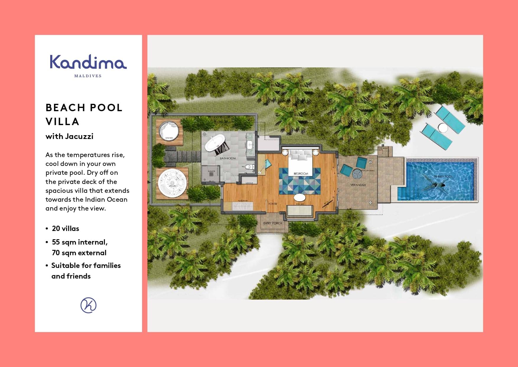 Мальдивы, отель Kandima Maldives, план-схема номера Beach Pool Villa with Jacuzzi
