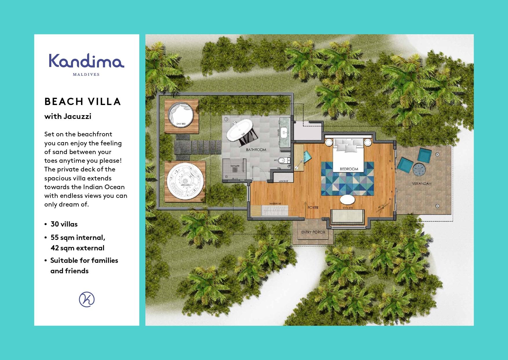 Мальдивы, отель Kandima Maldives, план-схема номера Beach Villa with Jacuzzi