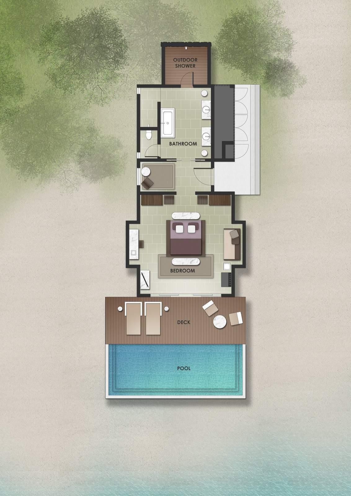 Мальдивы, отель The Residence Maldives at Dhigurah, план-схема номера Beach Pool Villa