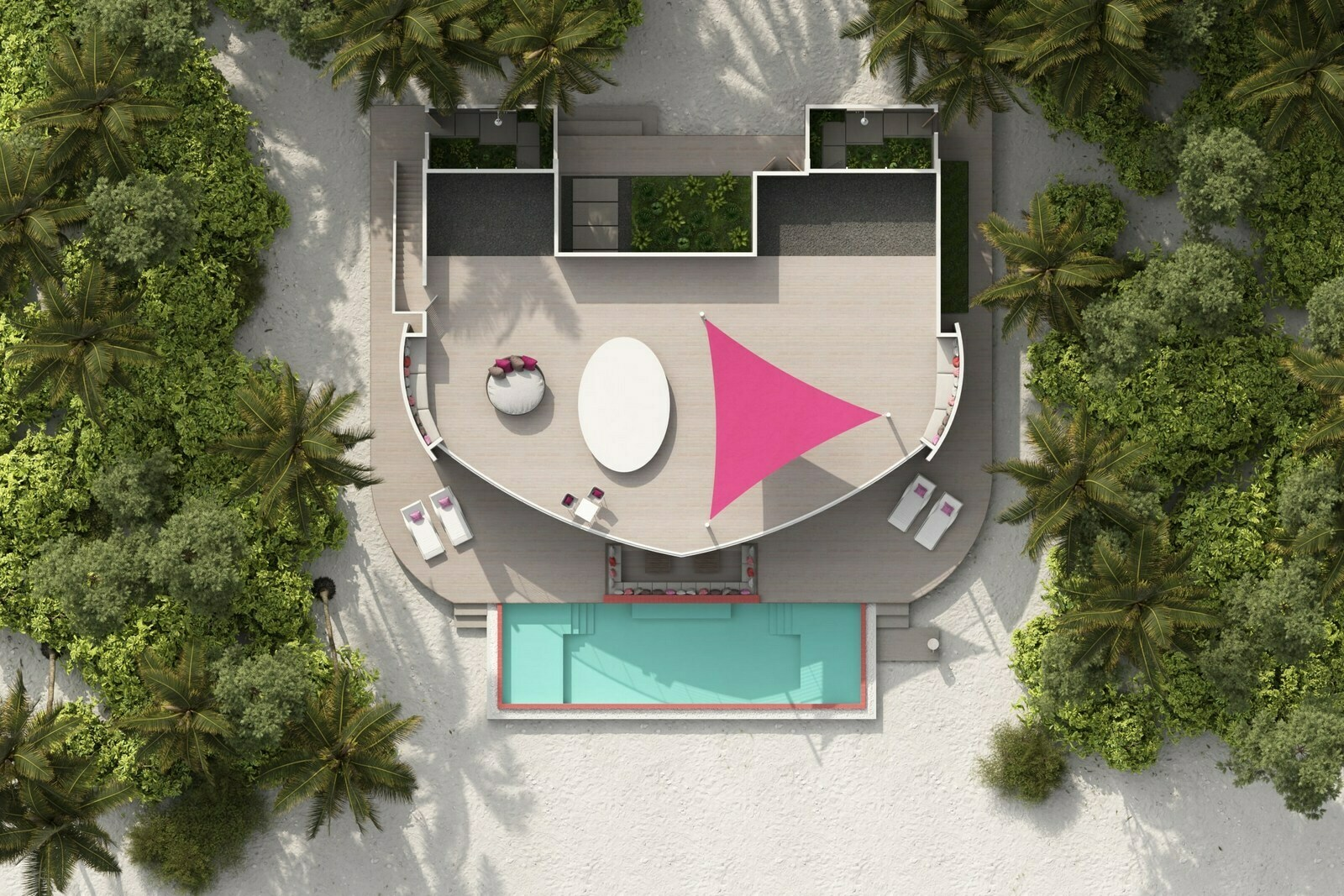 Мальдивы, отель LUX North Male Atoll, план-схема номера Beach Residence 2 Bedroom with Pool