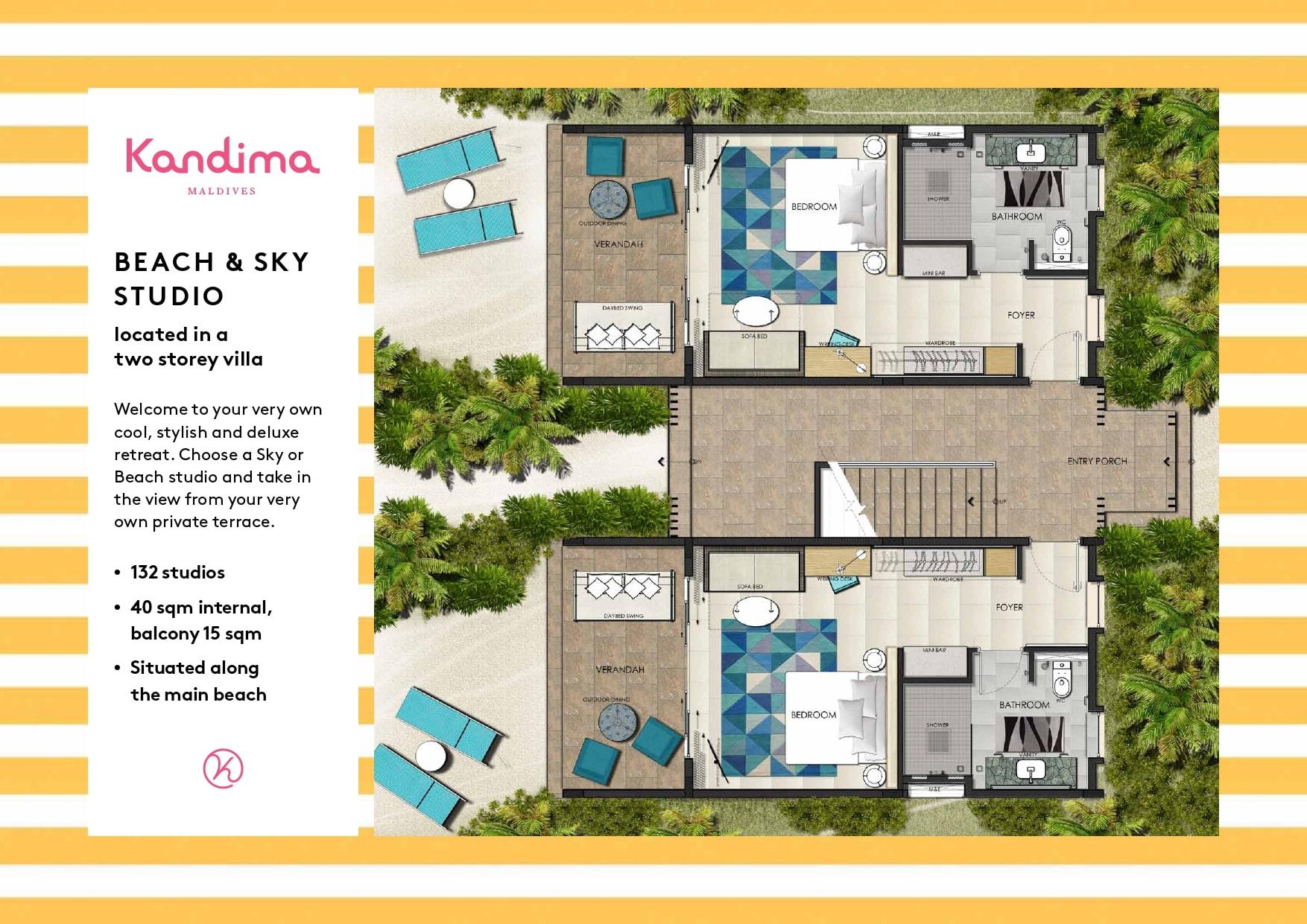 Мальдивы, отель Kandima Maldives, план-схема номера Family Sky Studio
