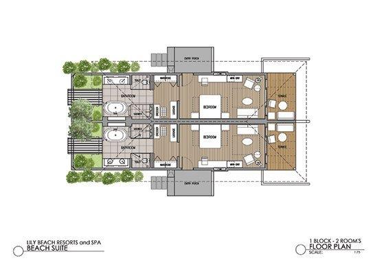 Мальдивы, отель Lily Beach Resort, план-схема номера Beach Suite