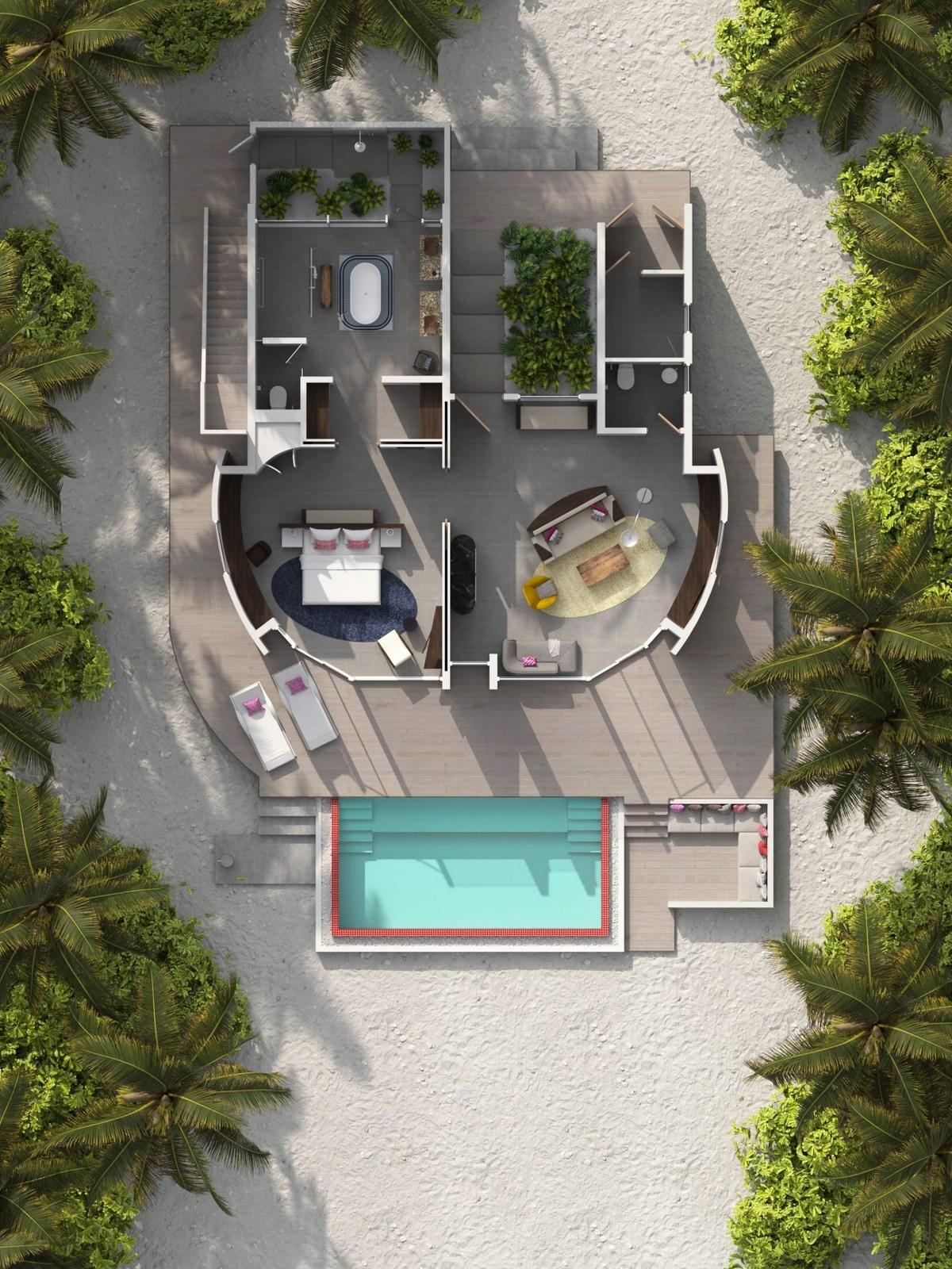 Мальдивы, отель LUX North Male Atoll, план-схема номера Beach Villa with Pool