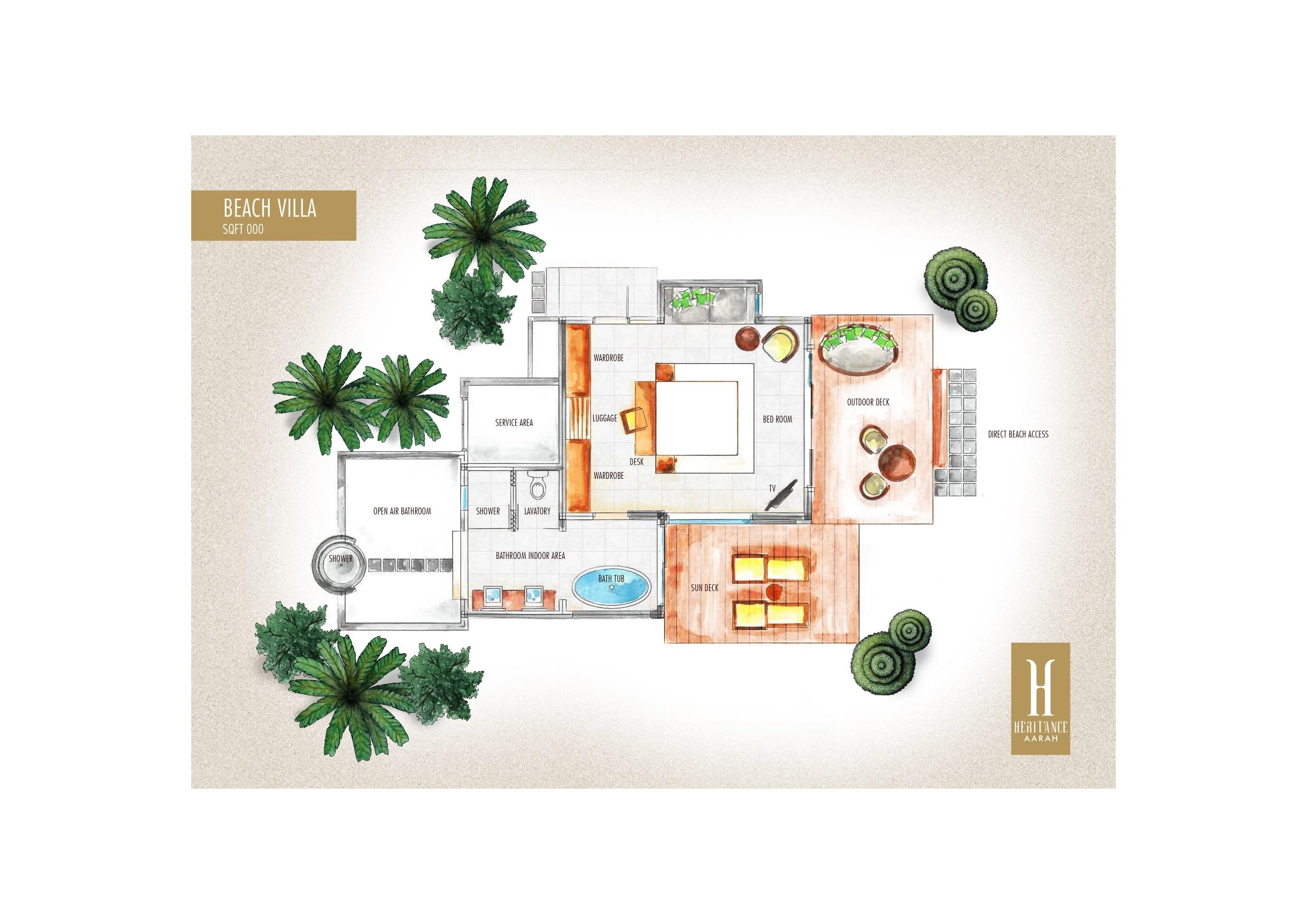 Мальдивы, отель Heritance Aarah, план-схема номера Beach Villa