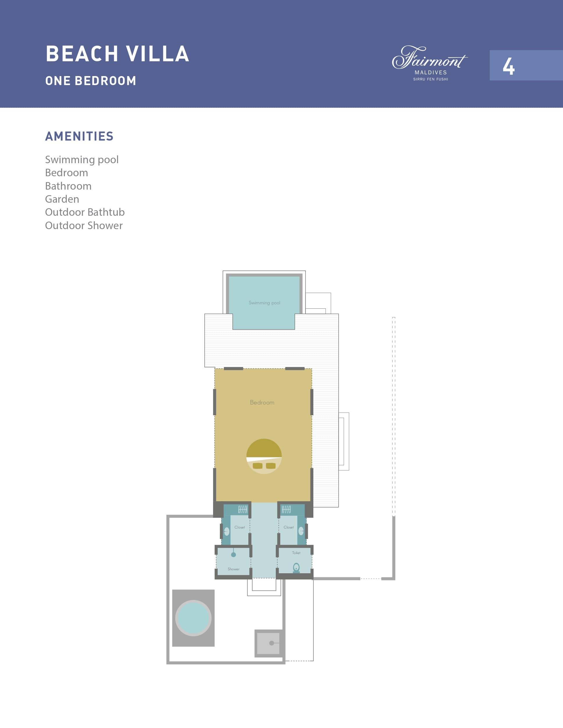 Мальдивы, отель Fairmont Maldives Sirru Fen Fushi, план-схема номера Beach Villa