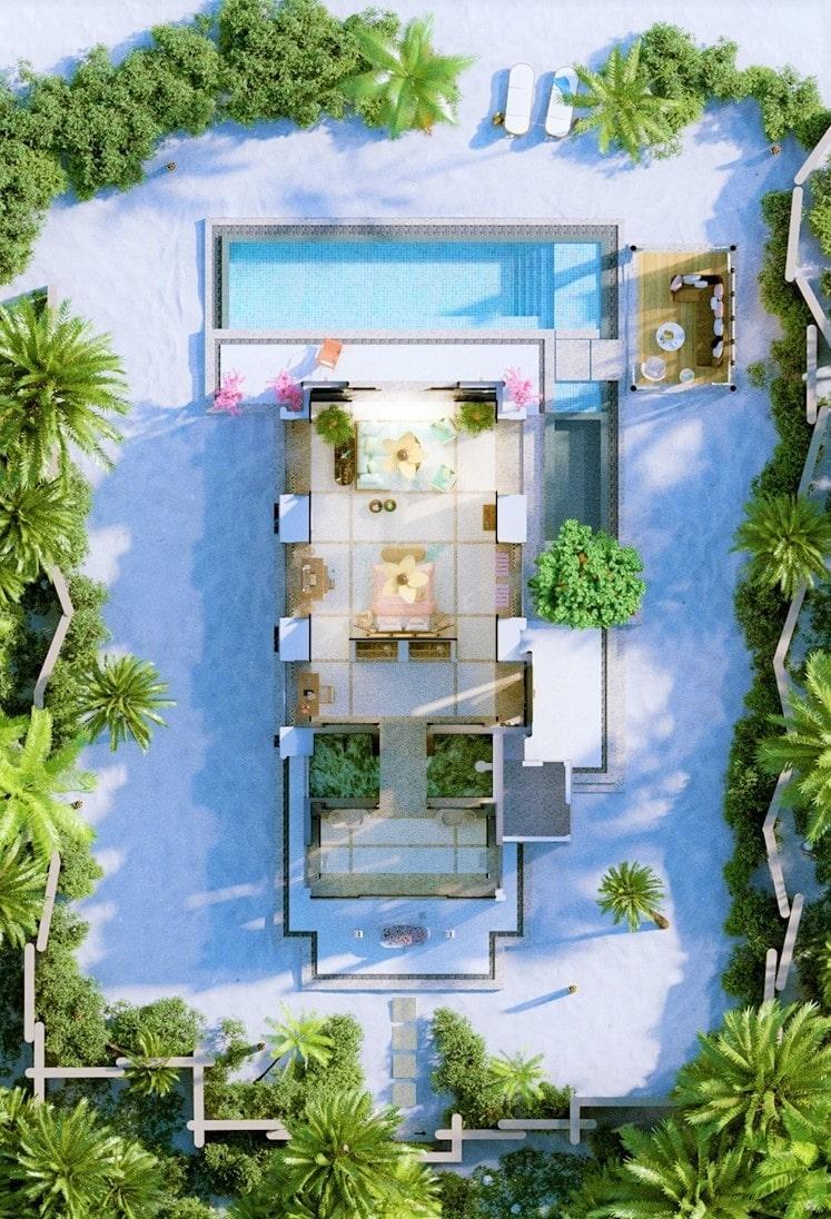 Мальдивы, отель Joali Maldives, план-схема номера Beach Villa with Pool