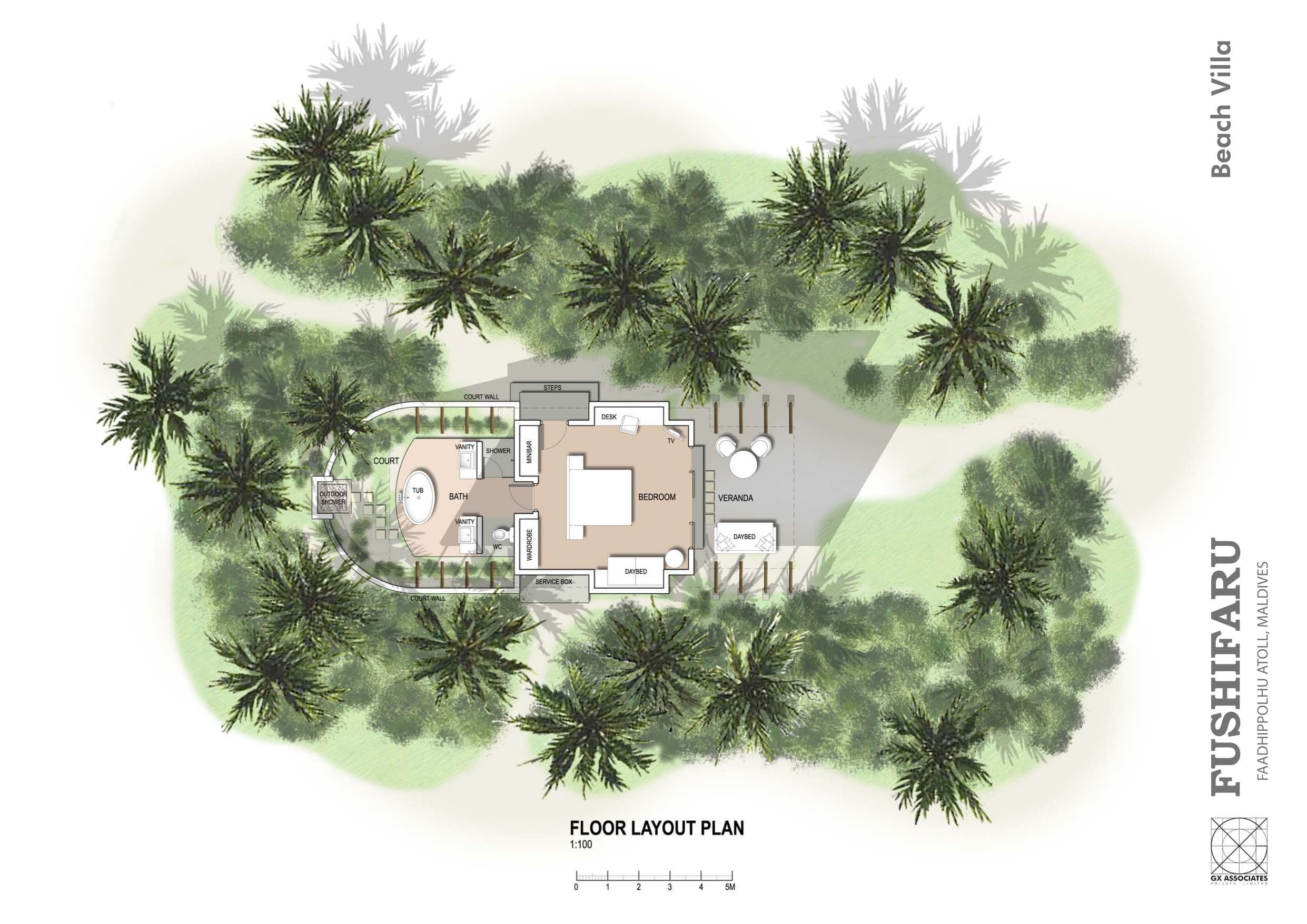 Мальдивы, отель Fushifaru Maldives, план-схема номера Beach Villa