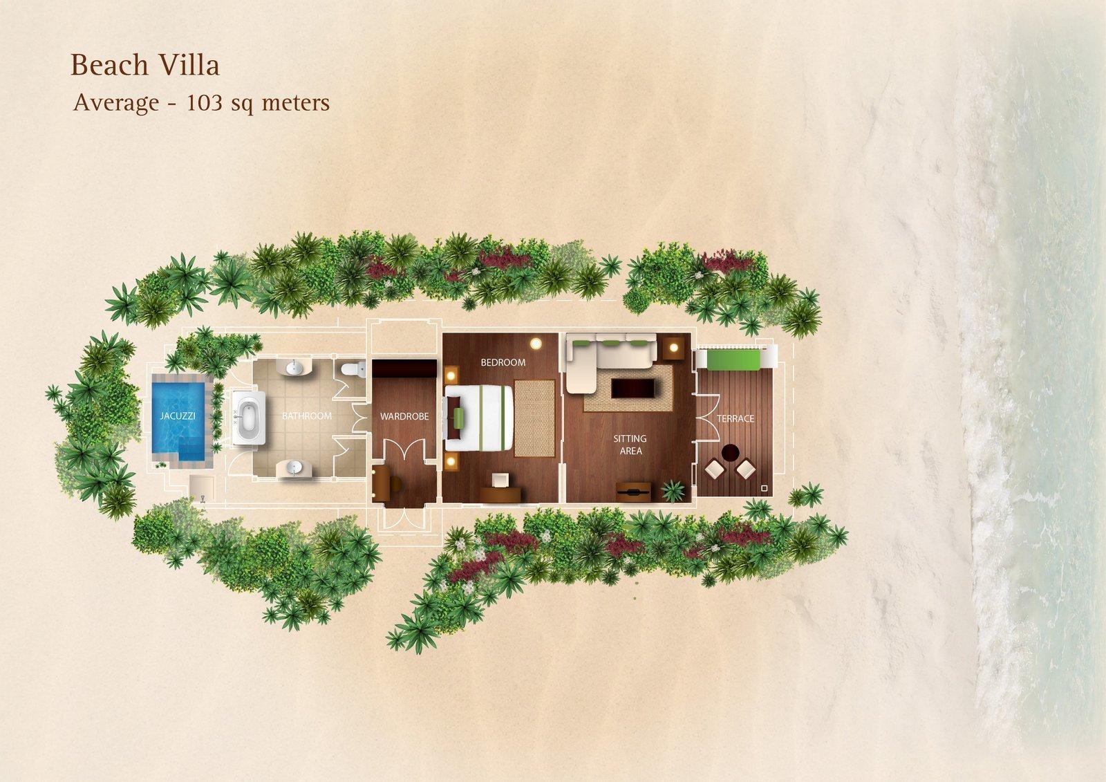 Мальдивы, отель Kurumba Maldives, план-схема номера Beach Villa
