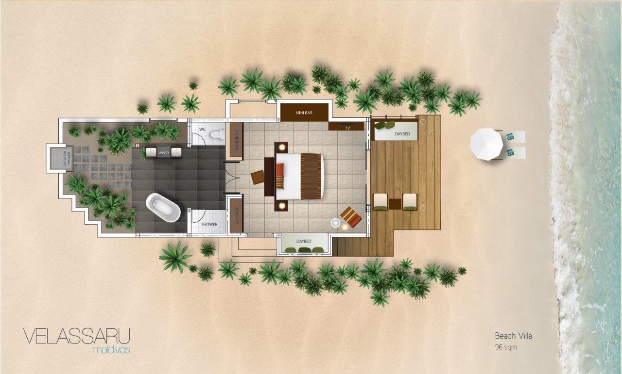 Мальдивы, отель Velassaru Maldives, план-схема номера Beach Villa