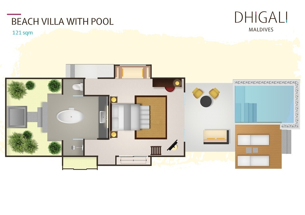 Мальдивы, отель Dhigali Maldives, план-схема номера Beach Villa with Pool