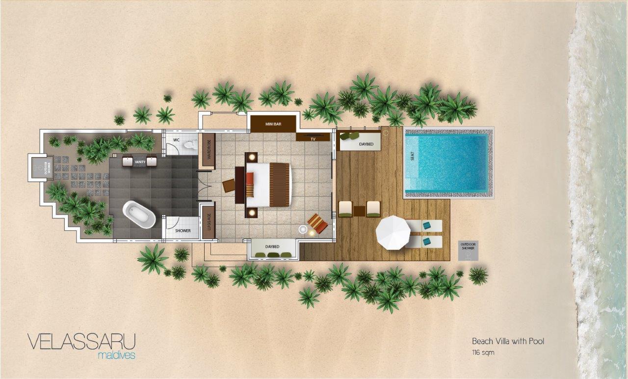 Мальдивы, отель Velassaru Maldives, план-схема номера Beach Villa with Pool
