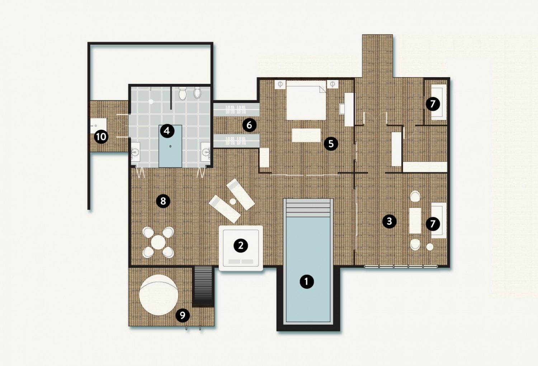 Мальдивы, отель Coco Palm Bodu Hithi, план-схема номера Coco Residence
