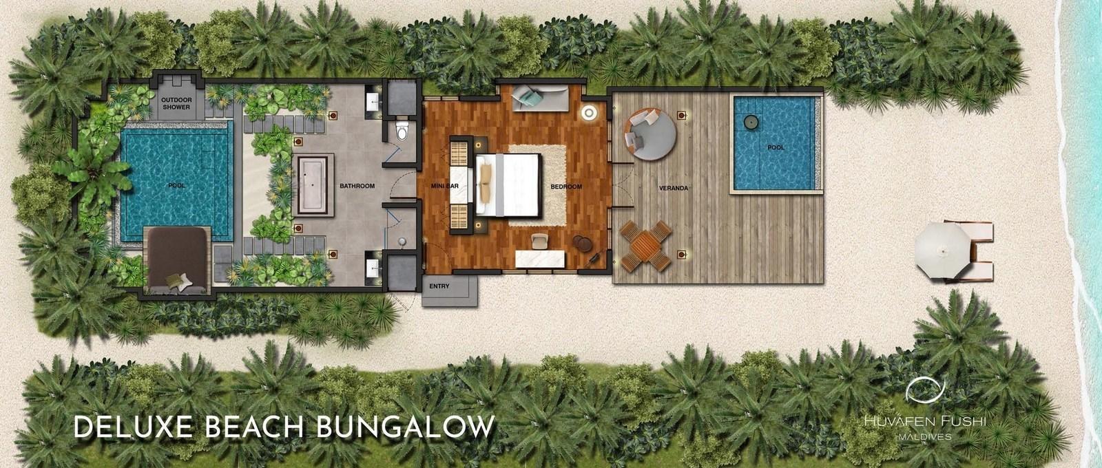 Мальдивы, отель Huvafen Fushi Maldives, план-схема номера Deluxe Beach Bungalow with Pool