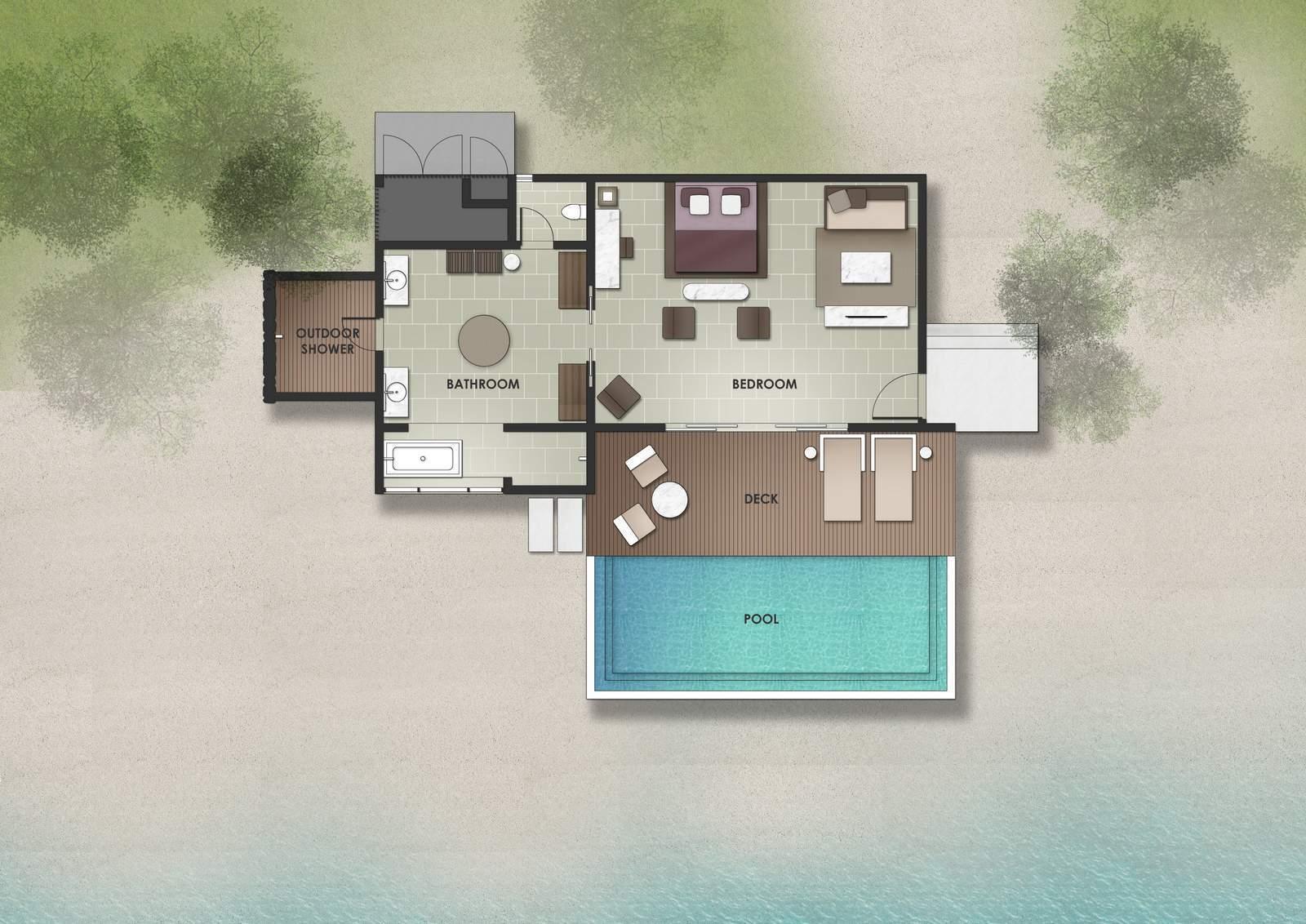 Мальдивы, отель The Residence Maldives at Dhigurah, план-схема номера Deluxe Beach Pool Villa