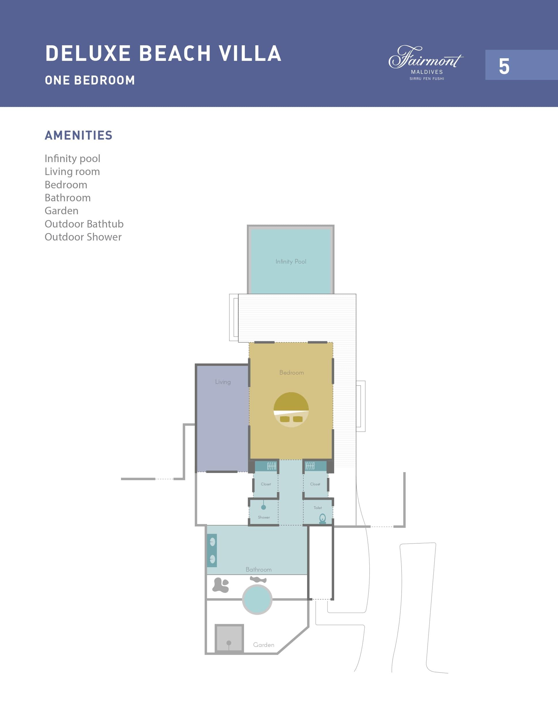 Мальдивы, отель Fairmont Maldives Sirru Fen Fushi, план-схема номера Deluxe Beach Villa