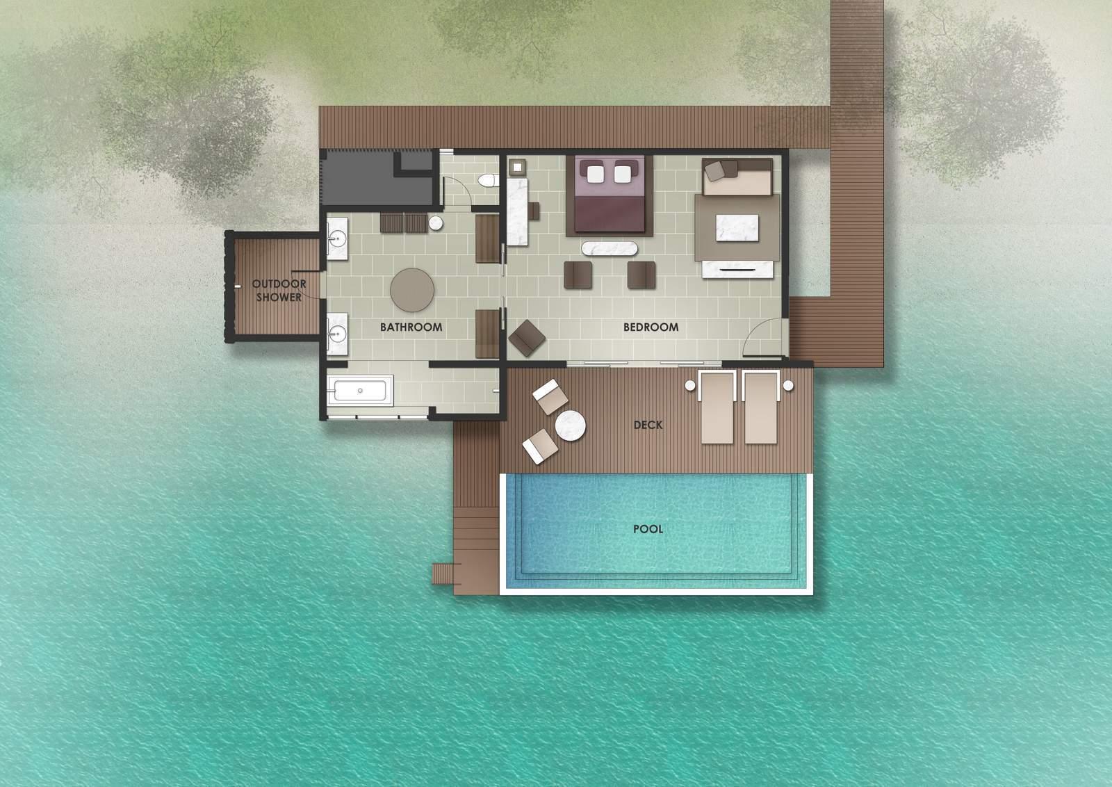 Мальдивы, отель The Residence Maldives at Dhigurah, план-схема номера Deluxe Lagoon Pool Villa
