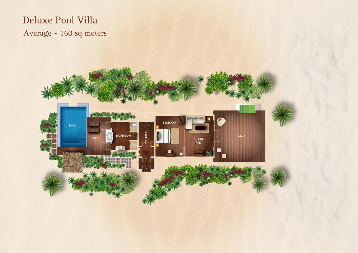 Мальдивы, отель Kurumba Maldives, план-схема номера Deluxe Pool Villa