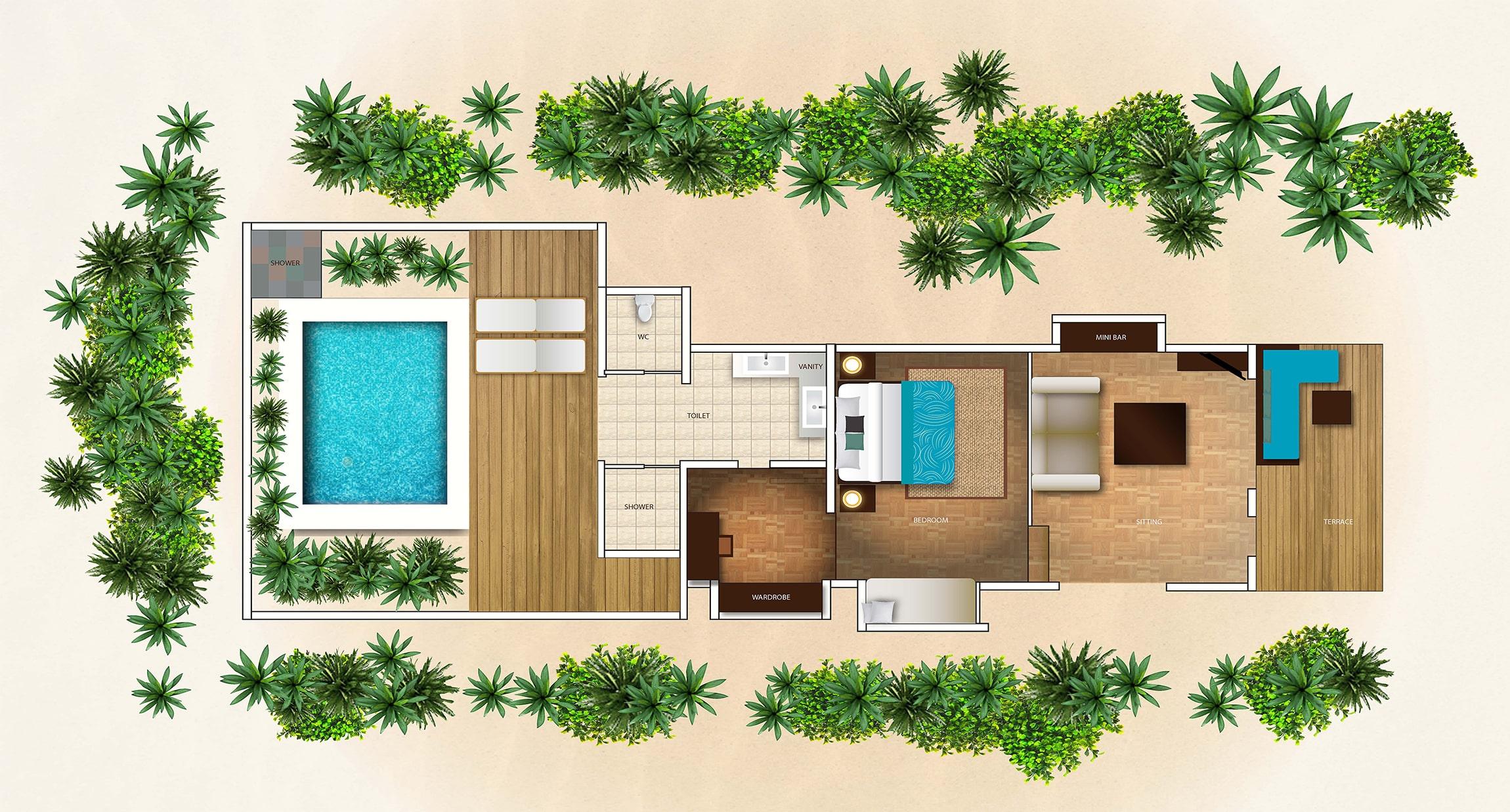 Мальдивы, отель Velassaru Maldives, план-схема номера Deluxe Villa with Pool