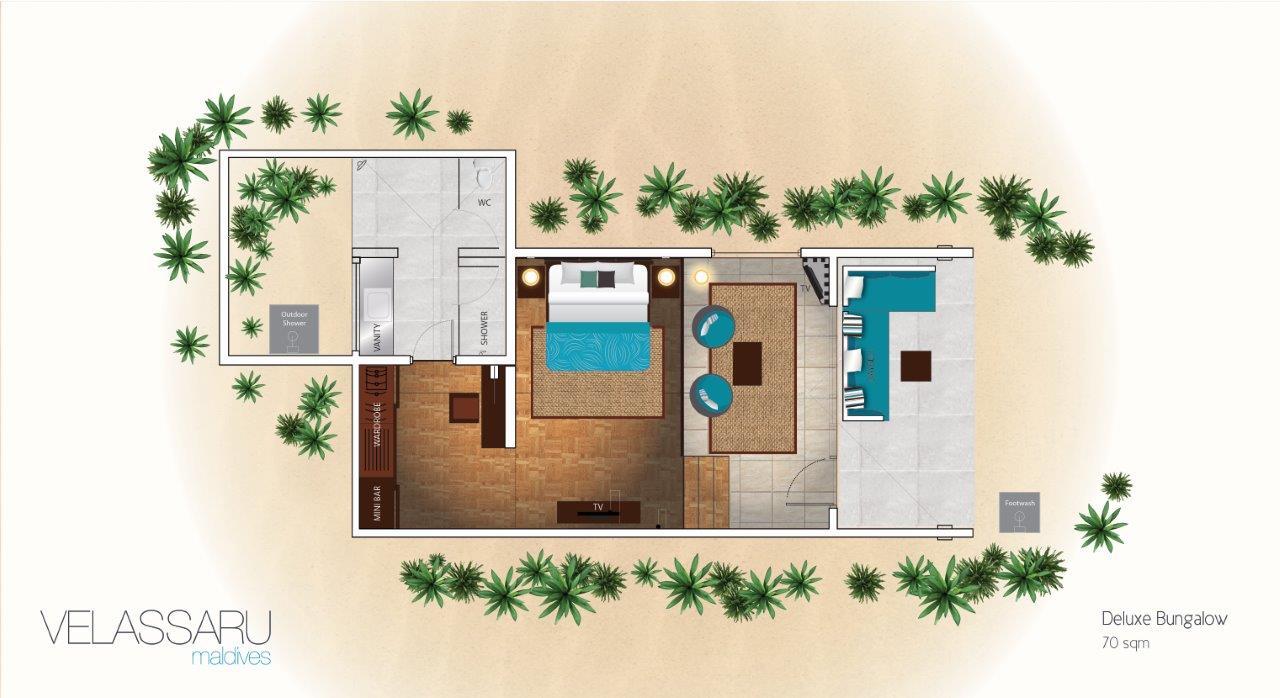 Мальдивы, отель Velassaru Maldives, план-схема номера Deluxe Bungalow