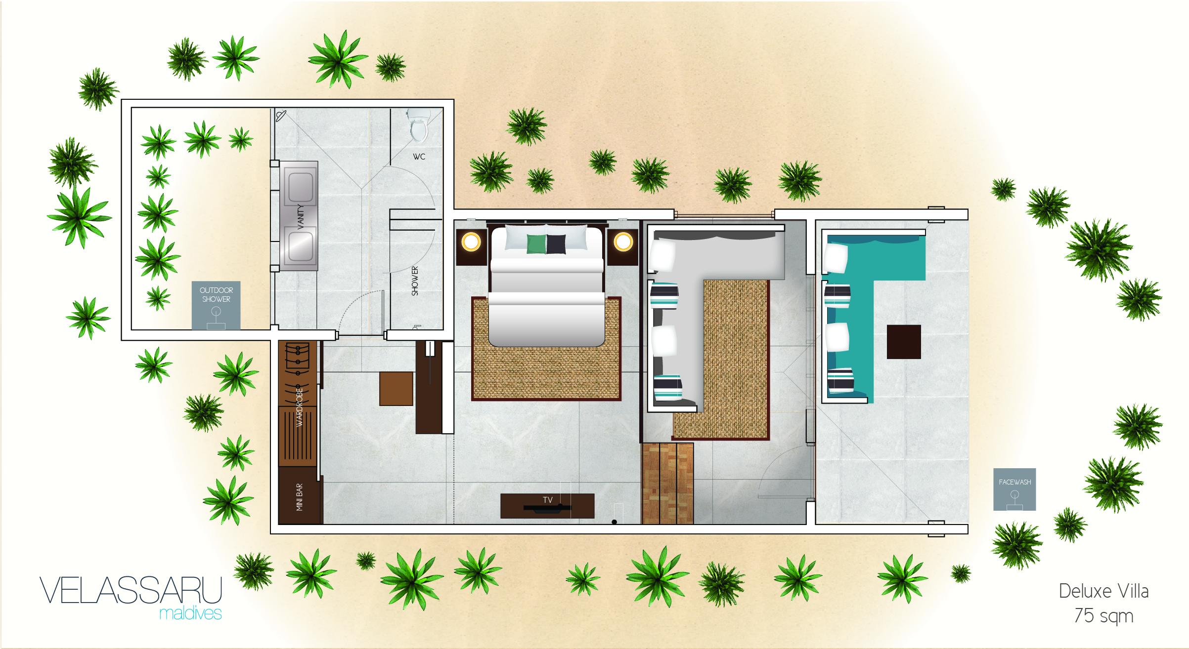 Мальдивы, отель Velassaru Maldives, план-схема номера Deluxe Villa