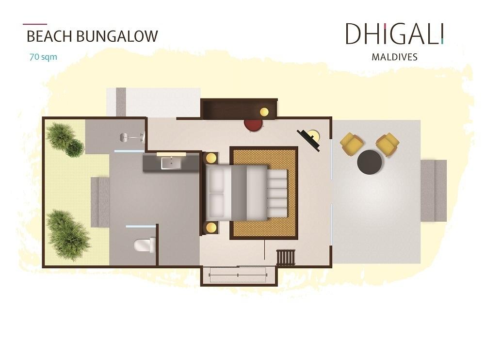 Мальдивы, отель Dhigali Maldives, план-схема номера Beach Bungalow