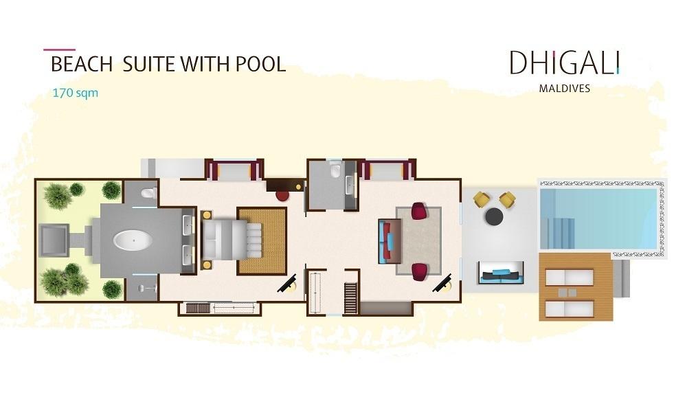Мальдивы, отель Dhigali Maldives, план-схема номера Beach Suite with Pool