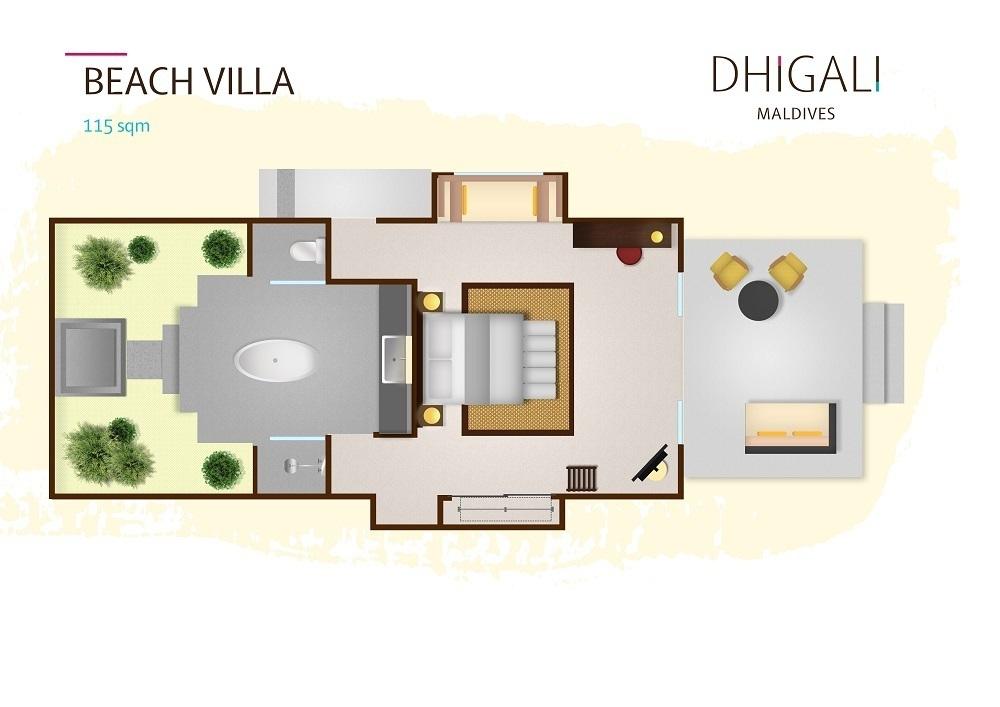 Мальдивы, отель Dhigali Maldives, план-схема номера Beach Villa