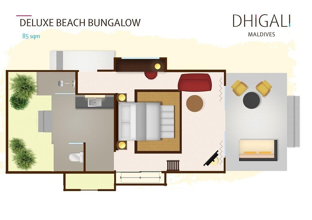 Мальдивы, отель Dhigali Maldives, план-схема номера Deluxe Beach Bungalow