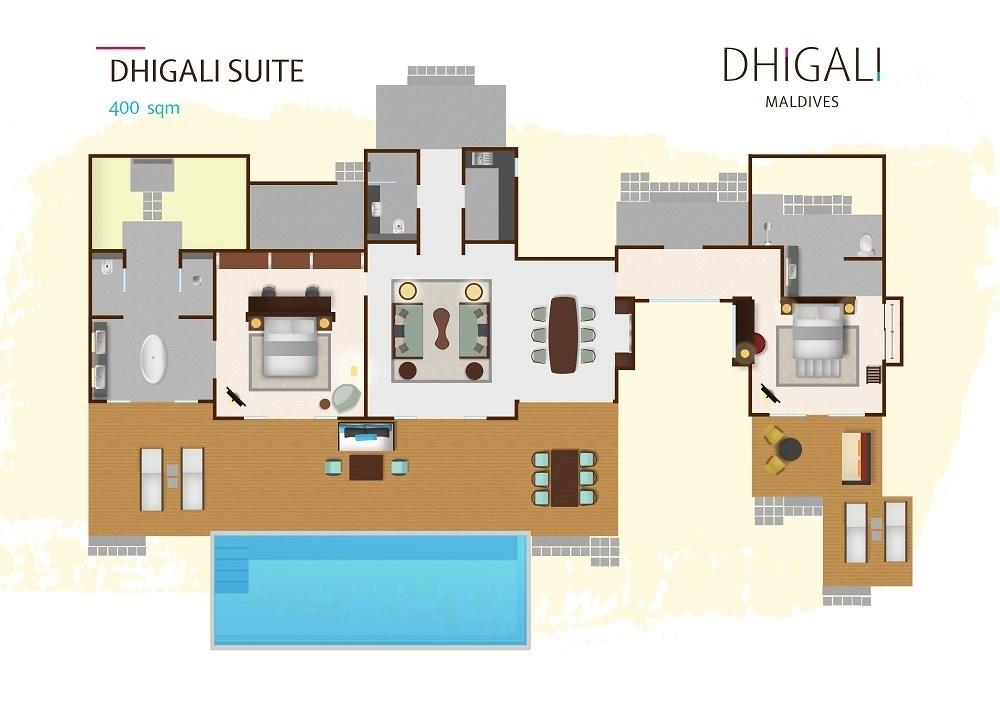 Мальдивы, отель Dhigali Maldives, план-схема номера Dhigali Suite
