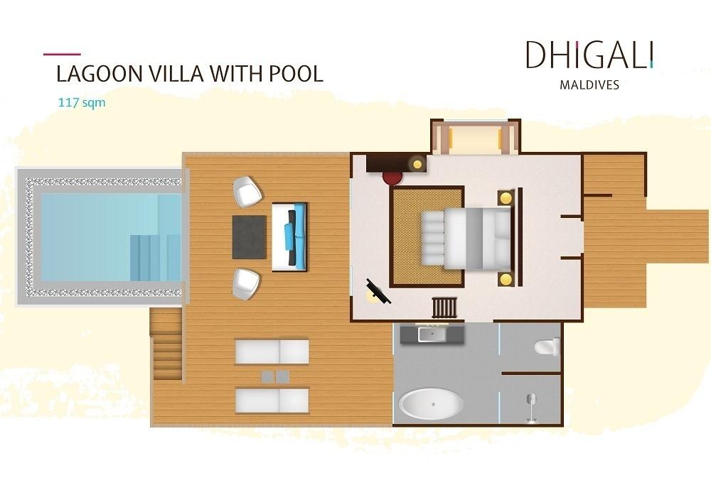 Мальдивы, отель Dhigali Maldives, план-схема номера Lagoon Villa with Pool