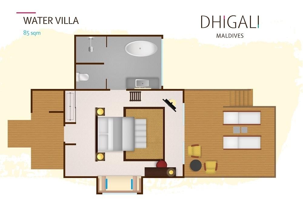 Мальдивы, отель Dhigali Maldives, план-схема номера Water Villa