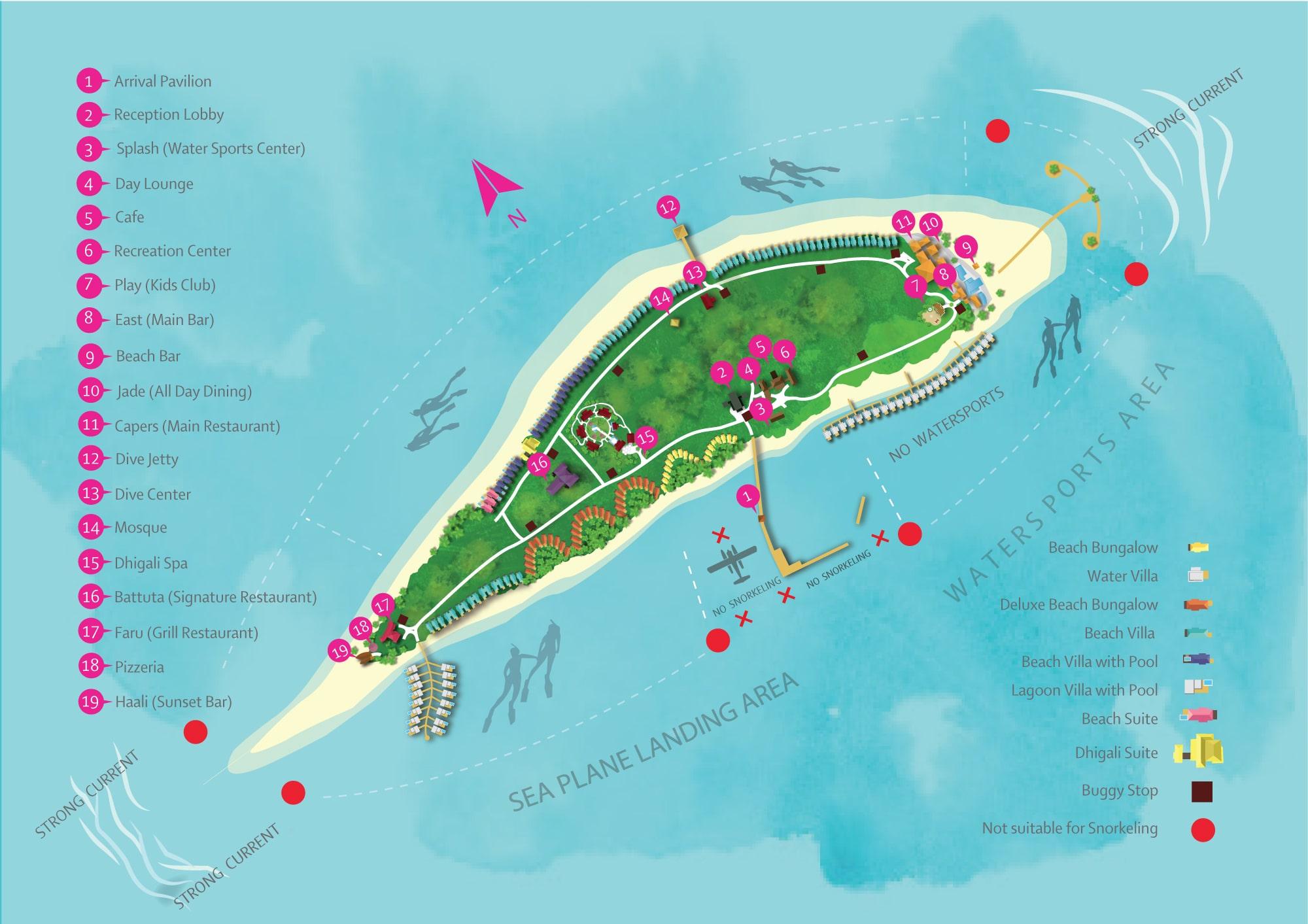 Мальдивы, Dhigali Maldives, карта отеля