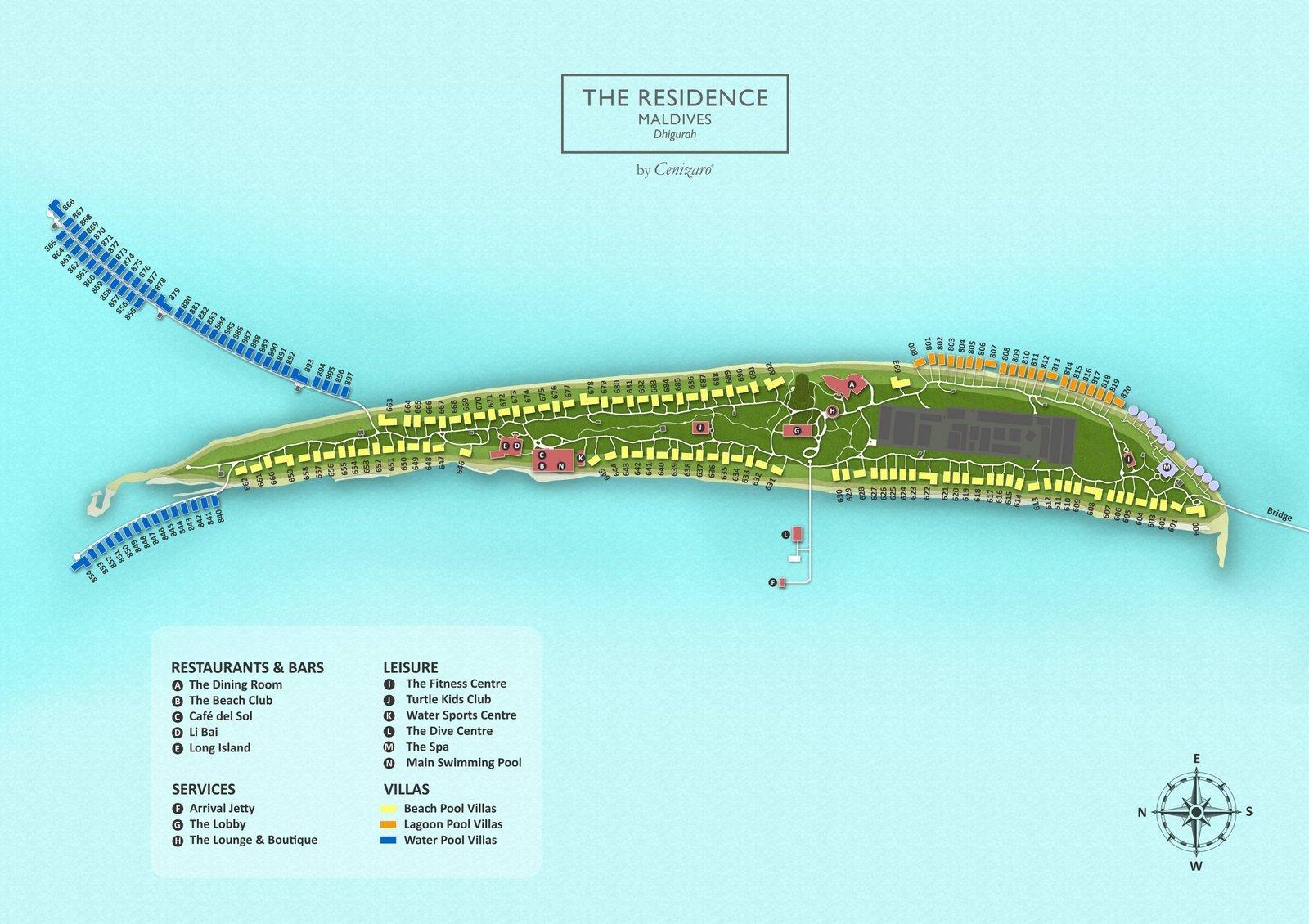 Мальдивы, The Residence Maldives at Dhigurah, карта отеля