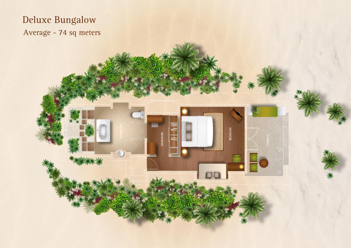 Мальдивы, отель Kurumba Maldives, план-схема номера Deluxe Bungalow