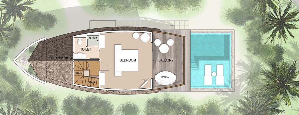 Мальдивы, отель Kandolhu Maldives, план-схема номера Duplex Pool Villa