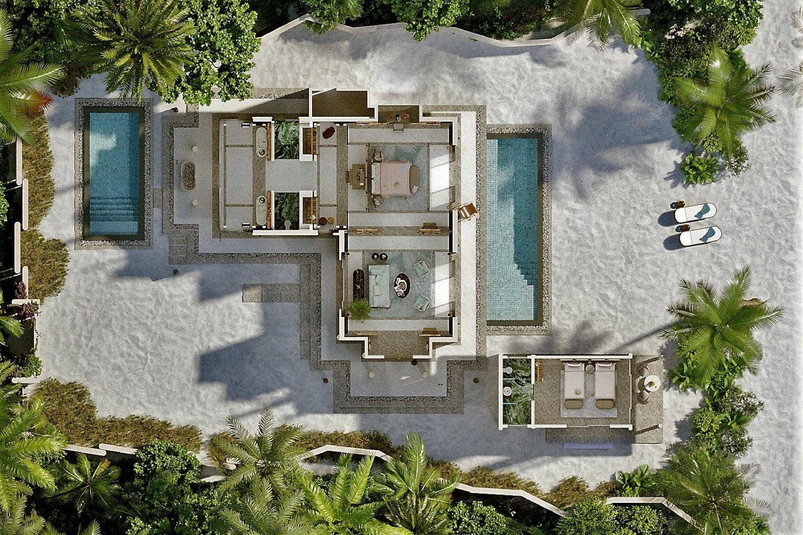 Мальдивы, отель Joali Maldives, план-схема номера Family Beach Villa with two pools