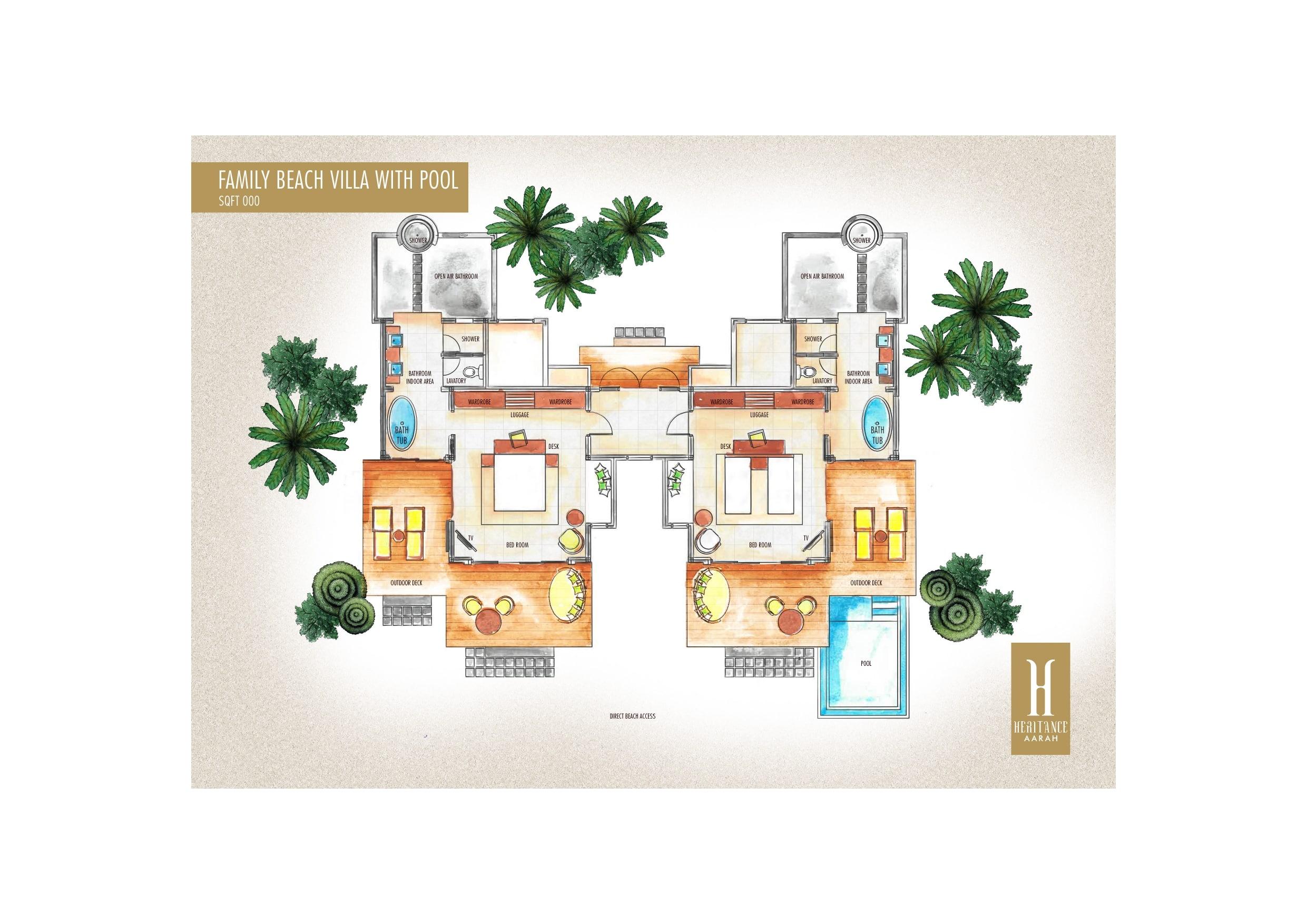 Мальдивы, отель Heritance Aarah, план-схема номера Family Pool Beach Villa