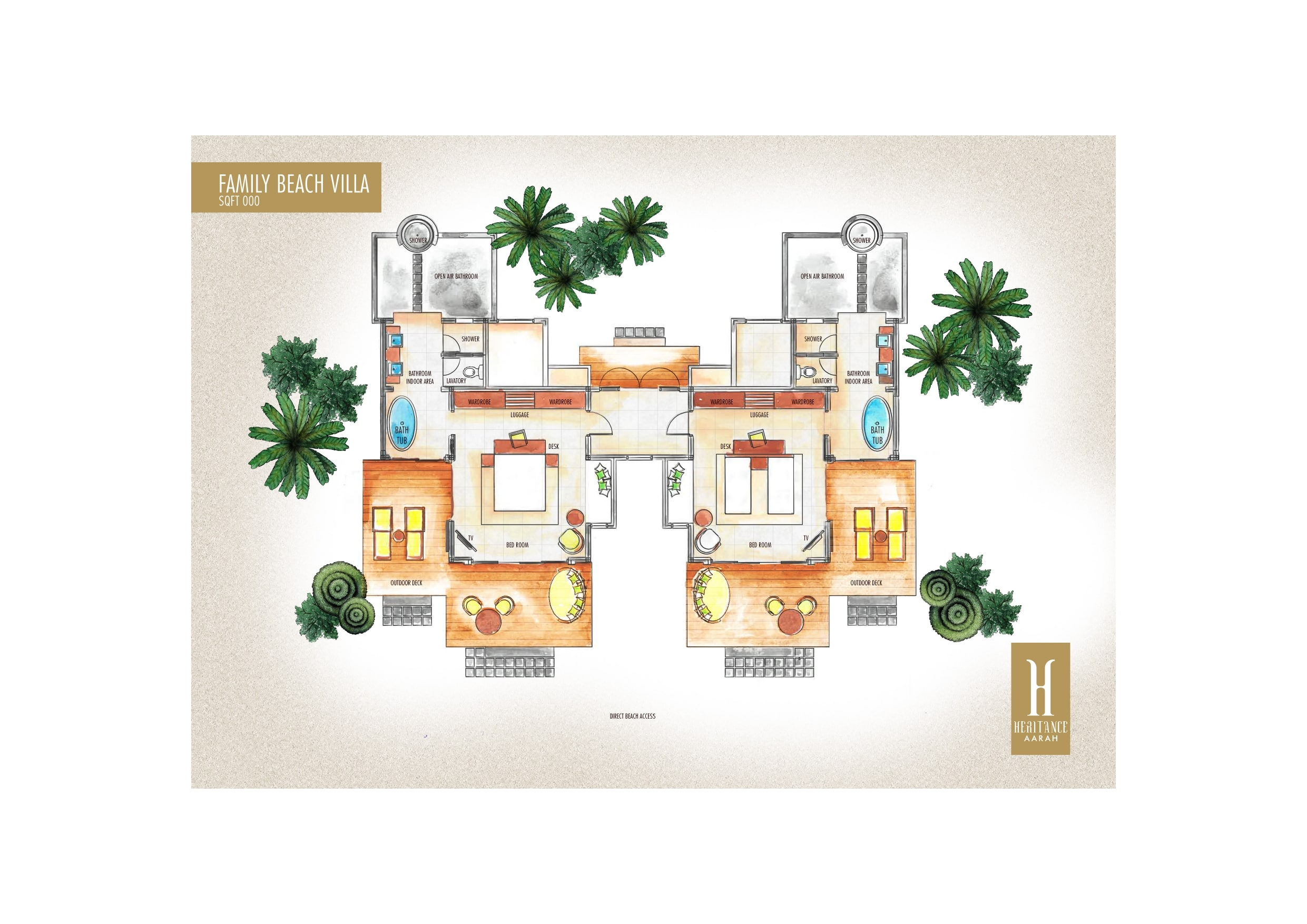 Мальдивы, отель Heritance Aarah, план-схема номера Family Beach Villa