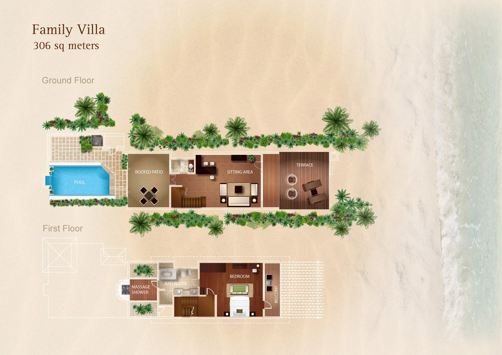 Мальдивы, отель Kurumba Maldives, план-схема номера Family Villa