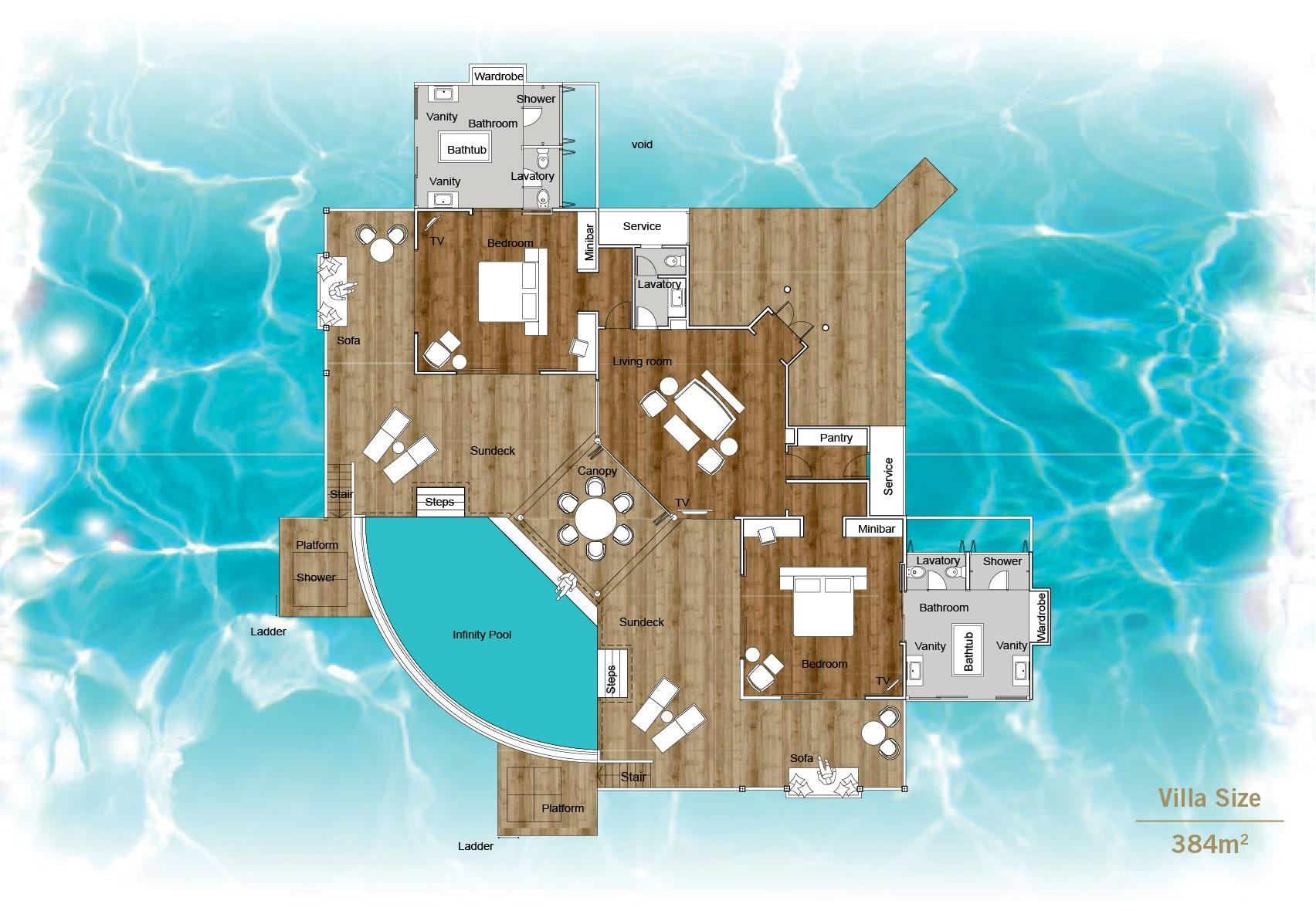 Мальдивы, отель Sun Siyam Iru Fushi, план-схема номера Aqua Retreat