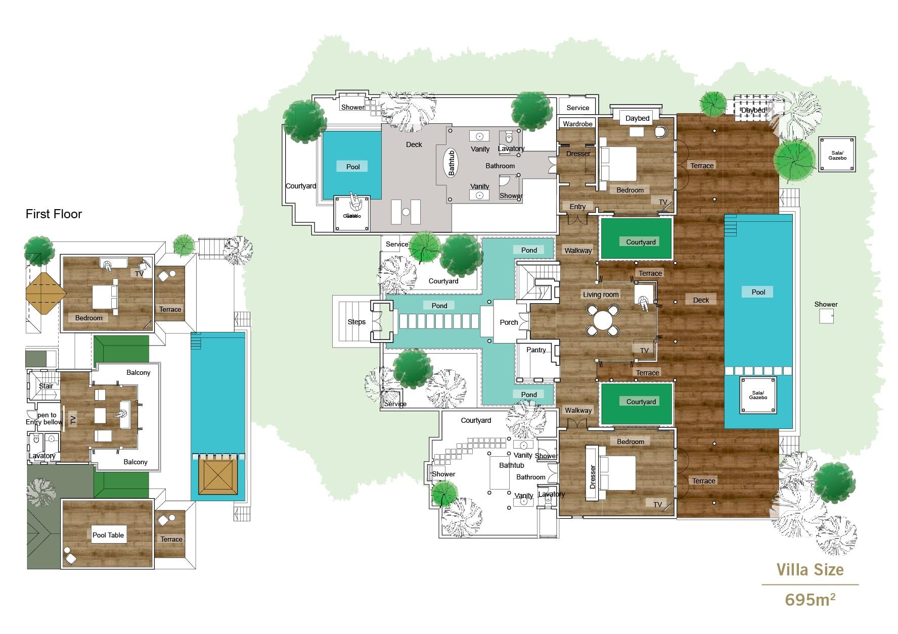 Мальдивы, отель Sun Siyam Iru Fushi, план-схема номера Celebrity Retreat