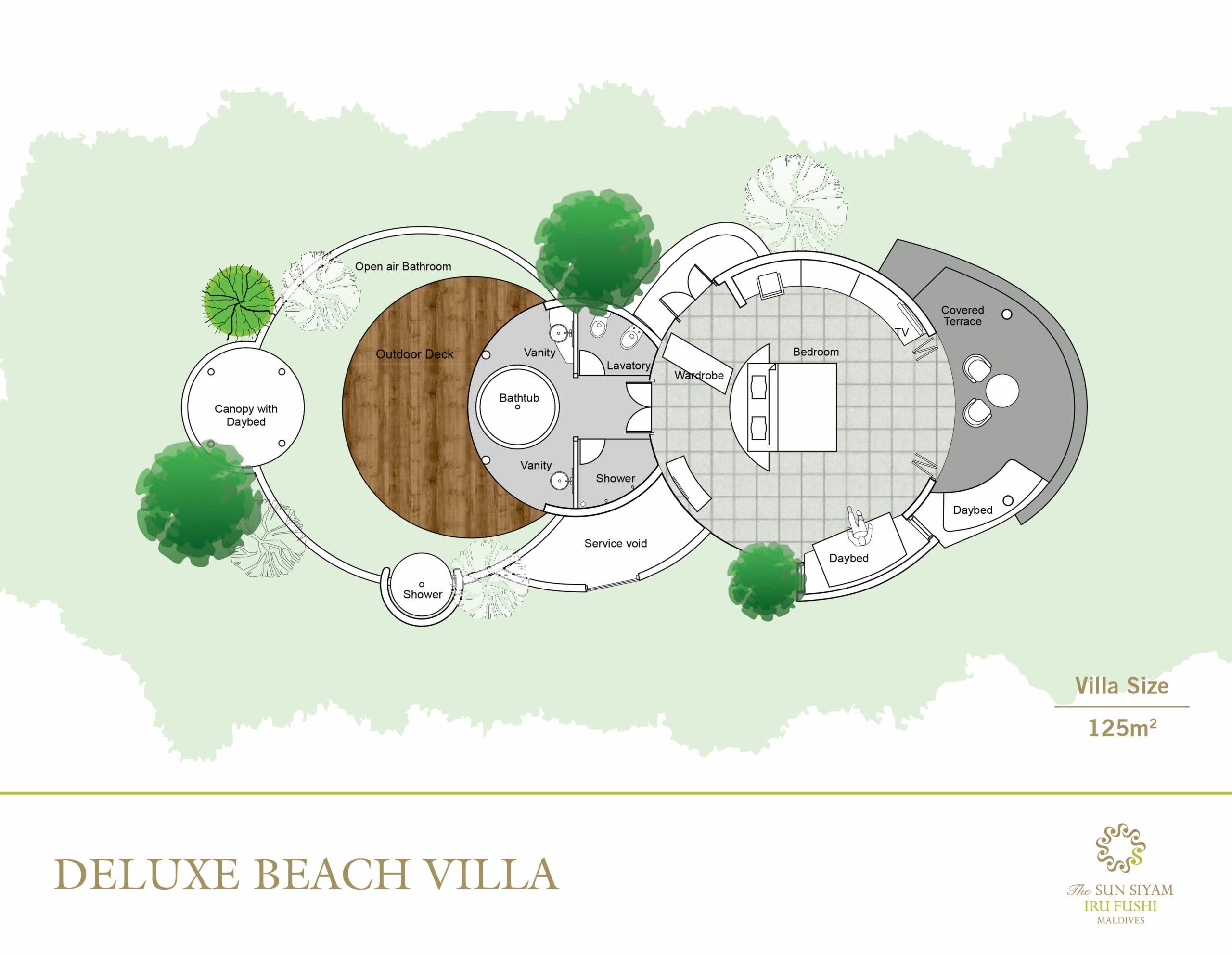 Мальдивы, отель Sun Siyam Iru Fushi, план-схема номера Deluxe Beach Villa