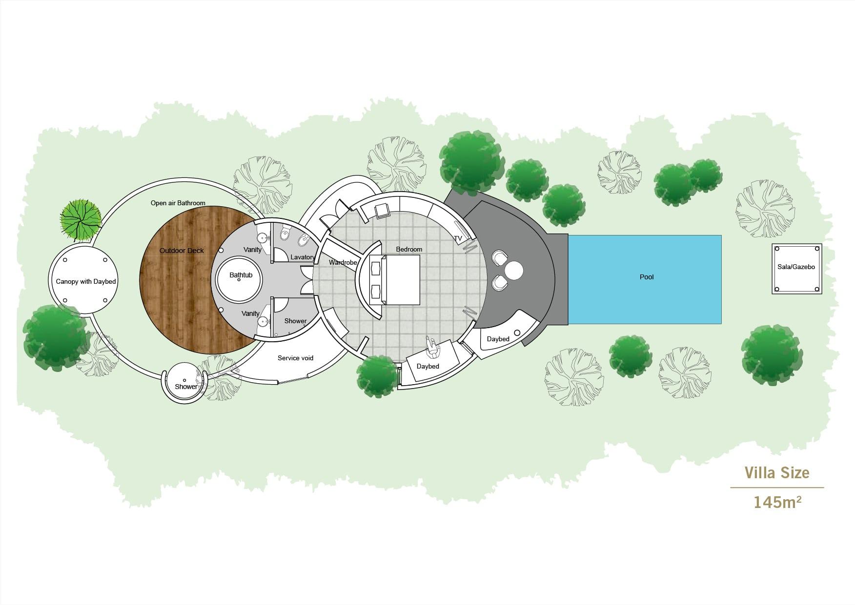 Мальдивы, отель Sun Siyam Iru Fushi, план-схема номера Deluxe Beach Villa with Pool