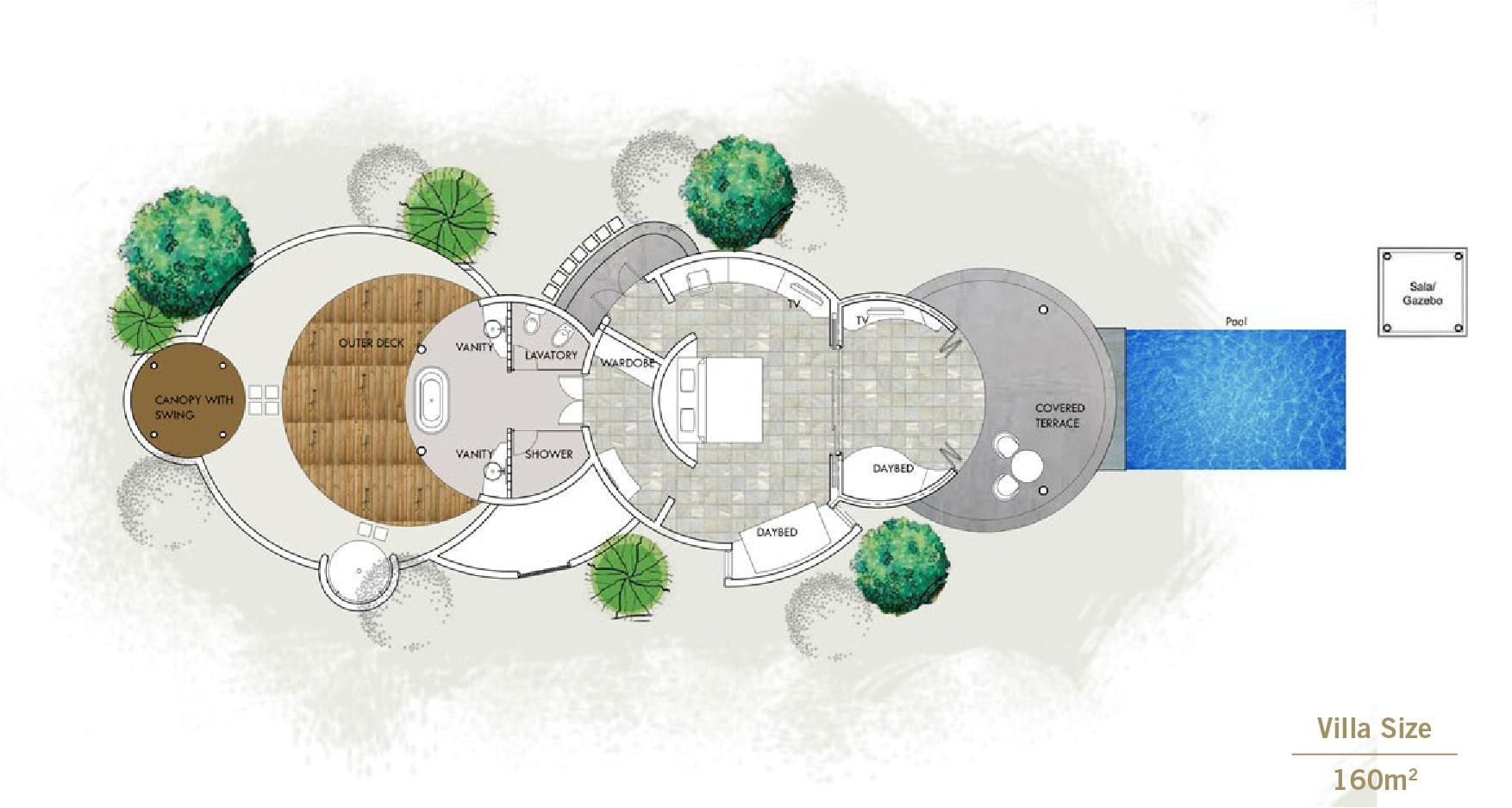 Мальдивы, отель Sun Siyam Iru Fushi, план-схема номера Family Deluxe Beach Villa